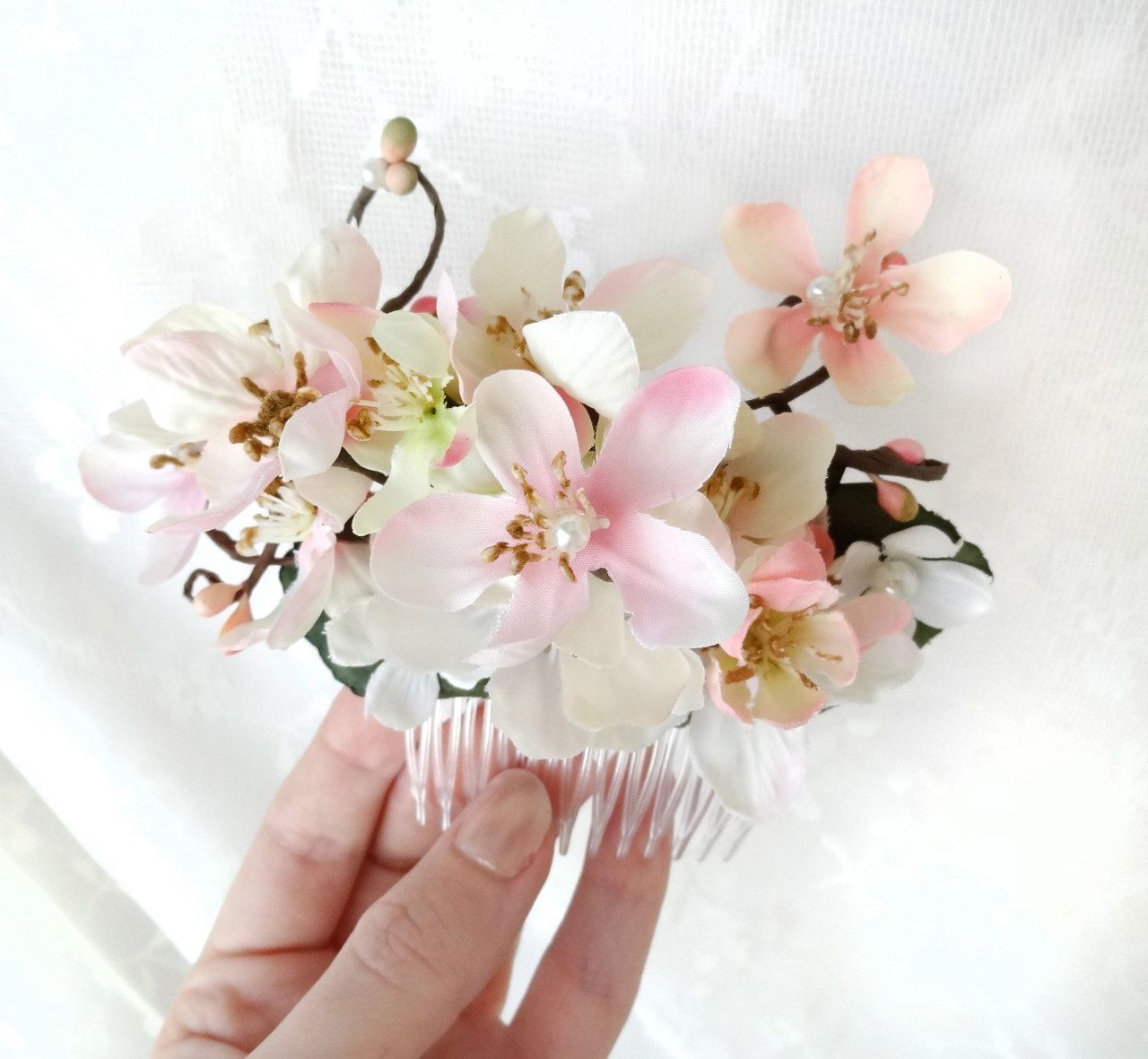 Cherry Blossom Hair Comb Blossom Hair Accessories Pink Floral Hair Comb Pink Flower Hair Piece Bridal Hair Comb Spring Twigs Pearls Bridal Hair Flowers Cherry Blossom Wedding Wedding Hair Accessories