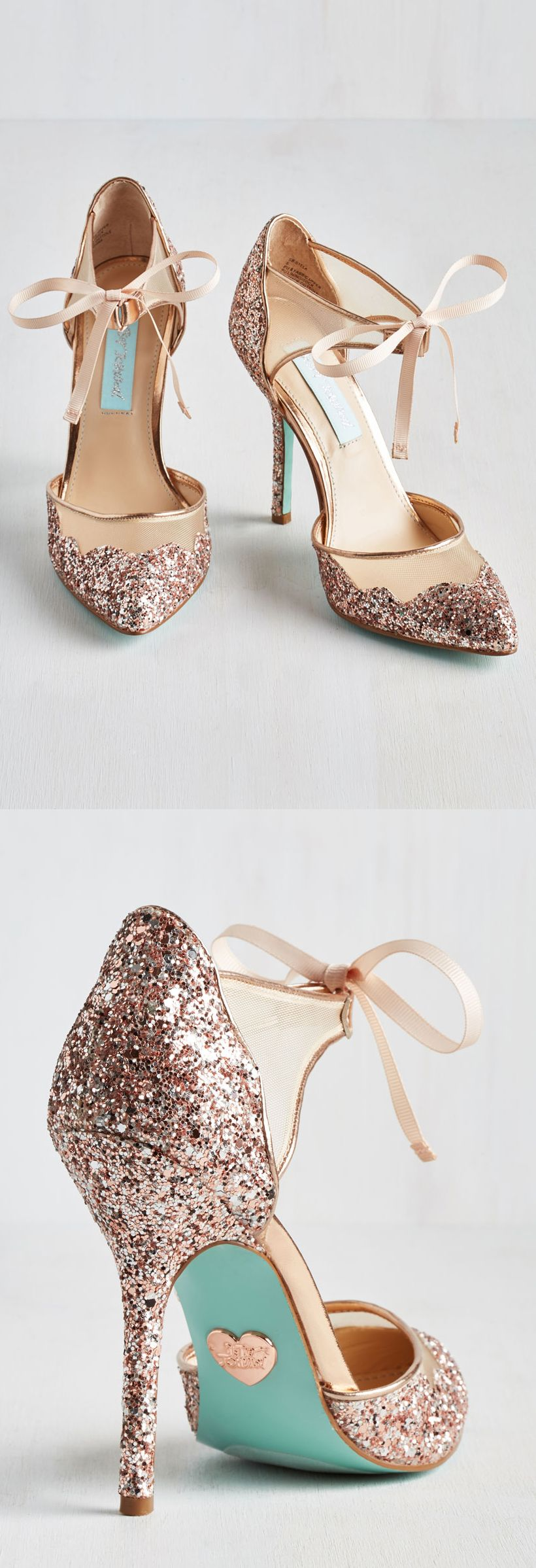 Charming Rose Gold Glitter Heels