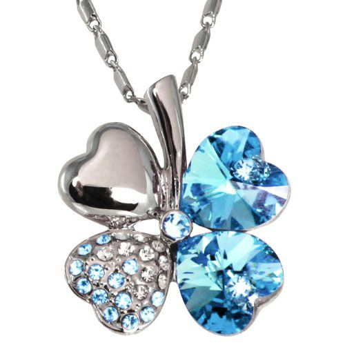 Four Leaf Clover Heart Shaped Swarovski Elements Crystal Rhodium Plated Pendant Necklace � Blue � Jewelry from Selena