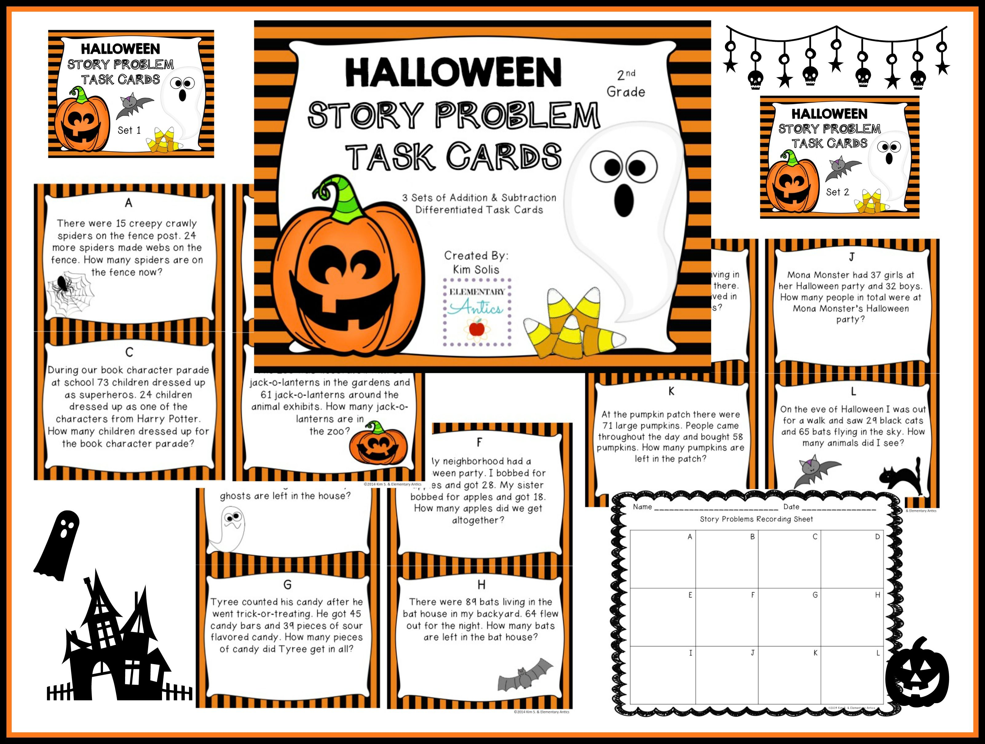 Halloween Addition Amp Subtraction Word Problem Task Cards