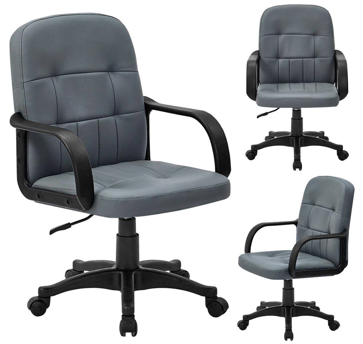 Details about Grey/Black Desk Chair Swivel Padded PU