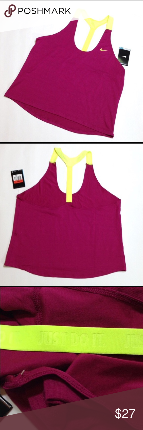 """Nike racer back dri fit tank PRICE IS FIRM UNLESS BUNDLED Magenta color, JUST DO IT logo on back strap! 👍🏻 24"""" length. Loose fitting. Nike Tops Tank Tops"""