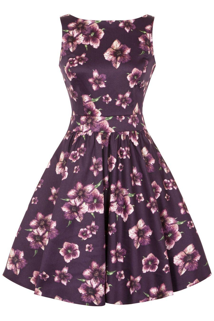 Tea dress midnight damson vintage style dresses frocks and violets tea dress midnight damson ombrellifo Images