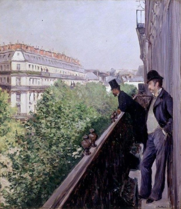 Gustave Caillebotte A Balcony Boulevard Haussmann 1880 Private