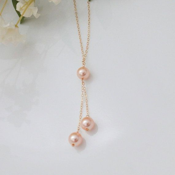 3 Little Pearls  lariat style minimalist necklace by peppermintfix, $29.00