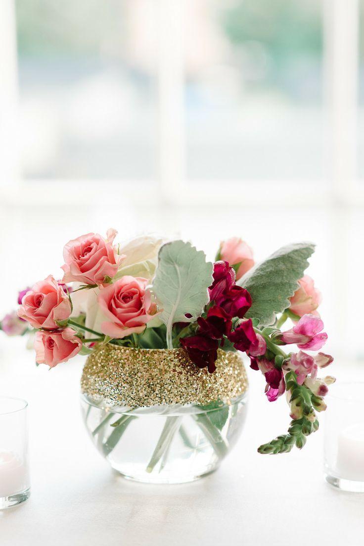 New Haven Lawn Club Wedding   Glitter centerpieces, Floral ...