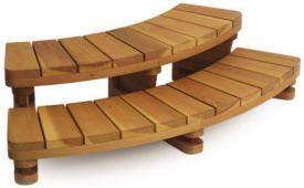Curved Wood Step Redwood Hybrid Corner Steps Rounded Steps