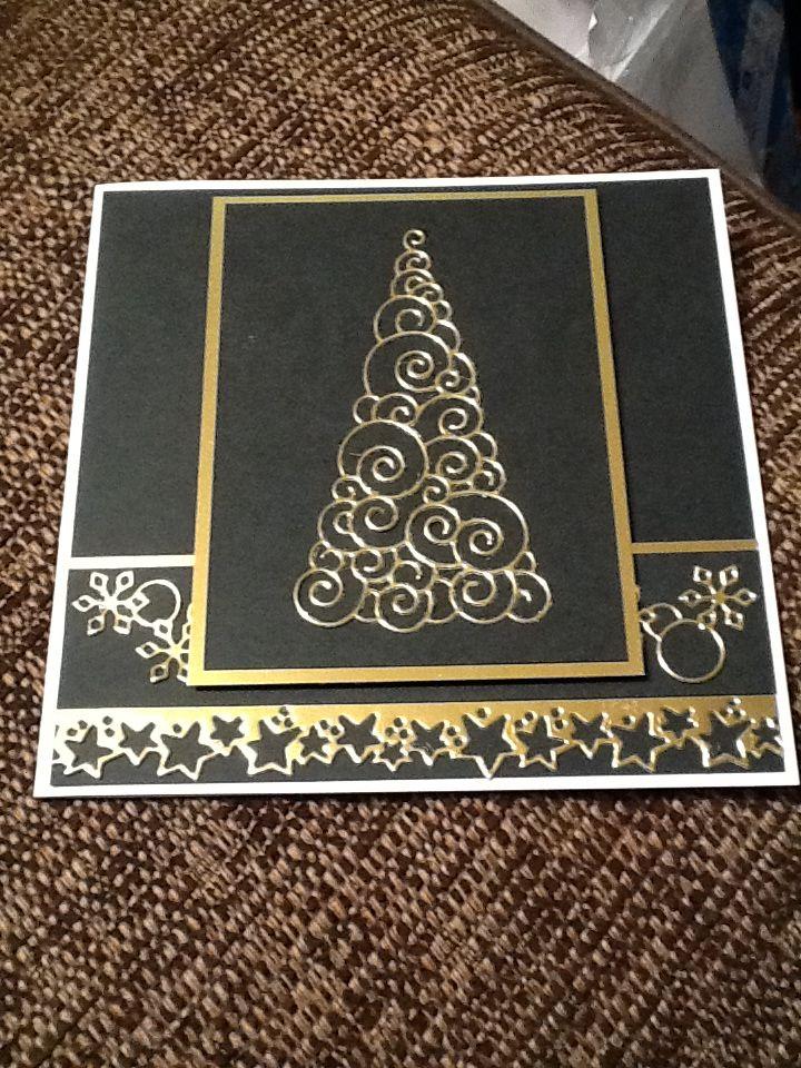 Black and gold Xmas card using memory box and magnolia dies