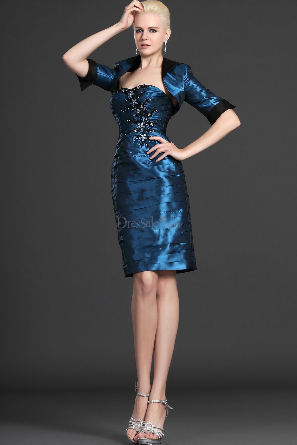 Half sleeves bolero with turn down collar dress for parents or in