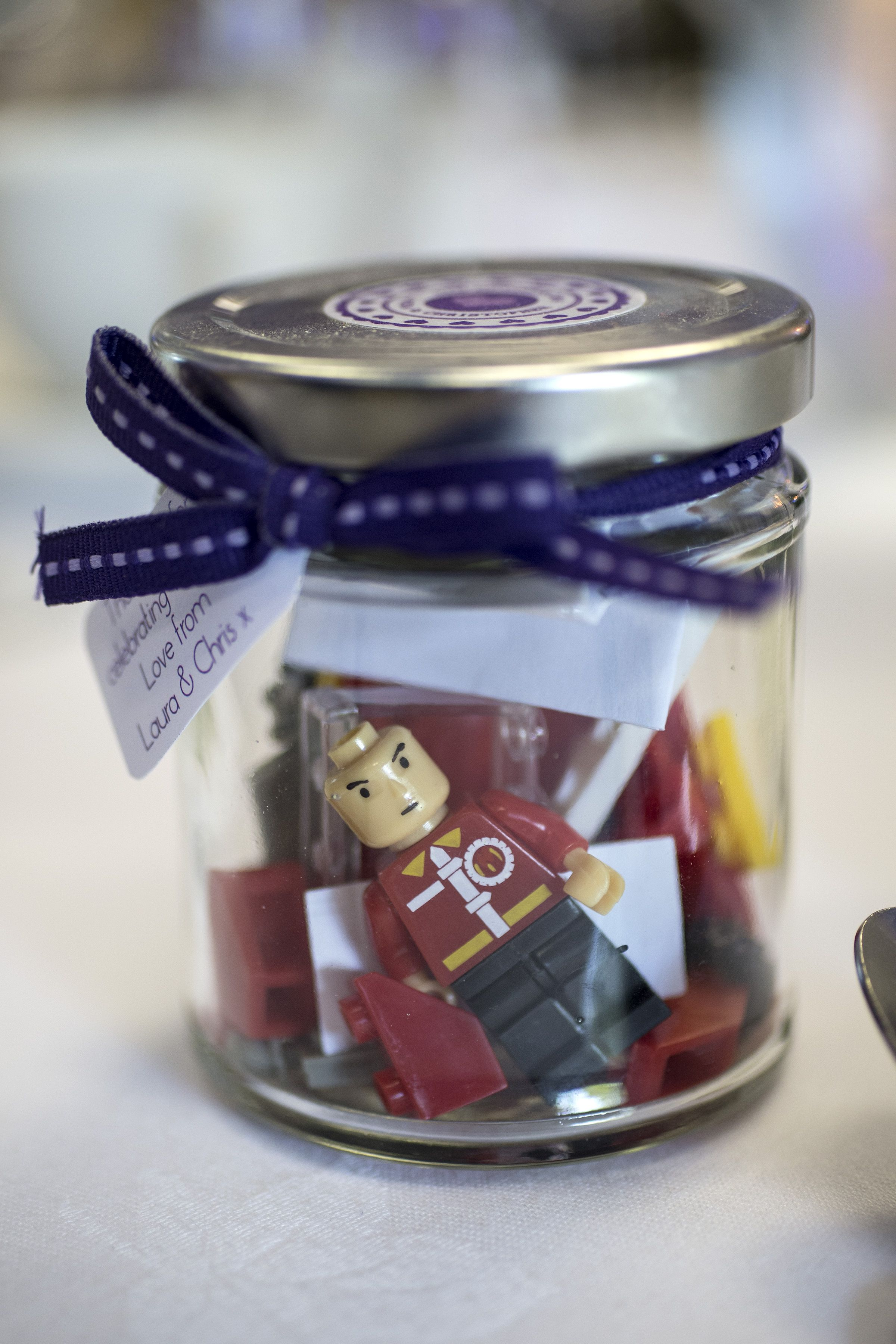 Cute Lego Wedding Favours In Mini Jam Jars