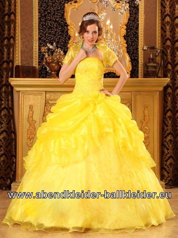 Wolumen Kleid Gelbes Sissi Kleid Ballkleid mit Bolero | Gowns ...
