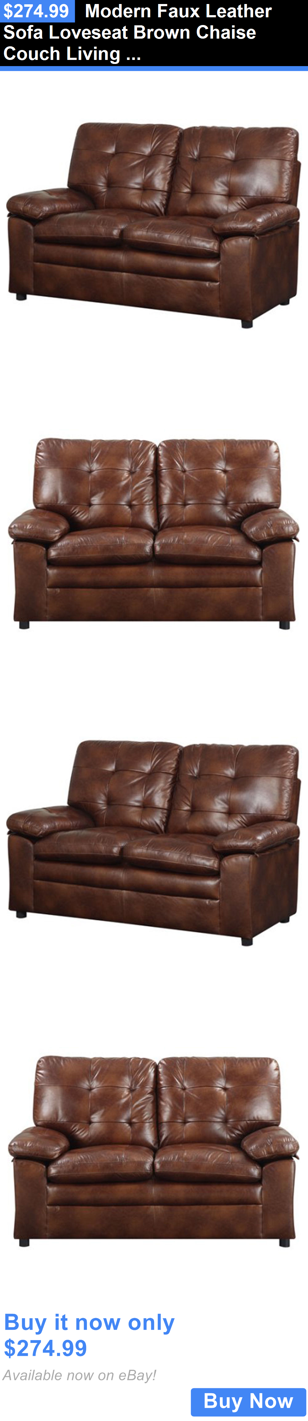 furniture Modern Faux Leather Sofa Loveseat Brown Chaise Couch