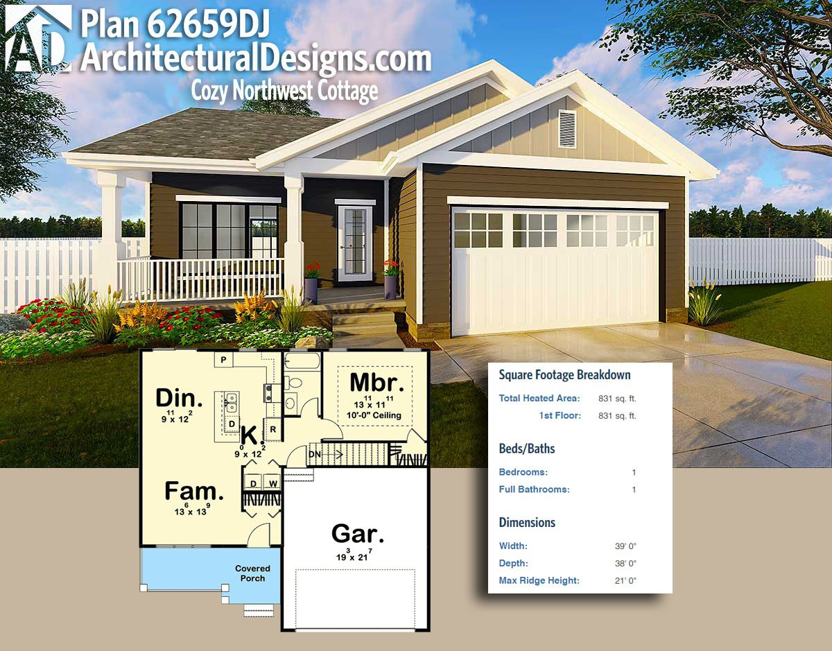 Architectural Designs UltraModern Tiny House Plan 62659DJ gives