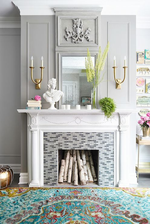 Gray Glass Fireplace Tiles Contemporary living room Rob Stuart