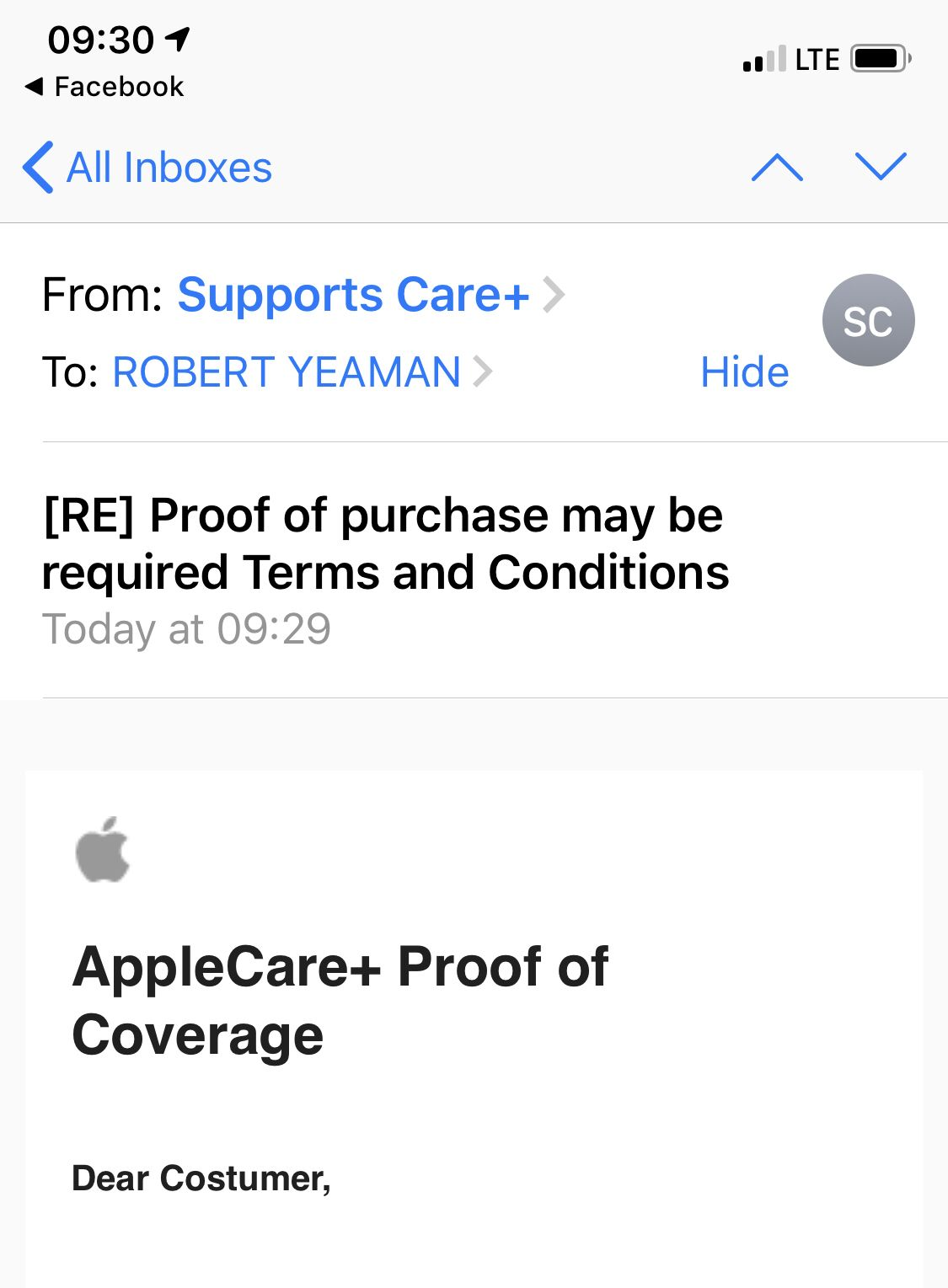 I love it when they call me that. applecare Phishing