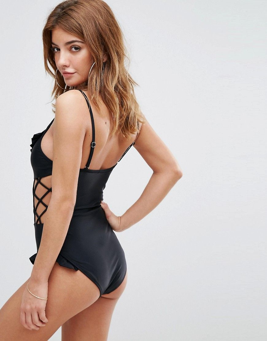 e9935d733be24 Missguided Ruffle Swimsuit - Black | Swim in 2019 | Ruffle swimsuit ...