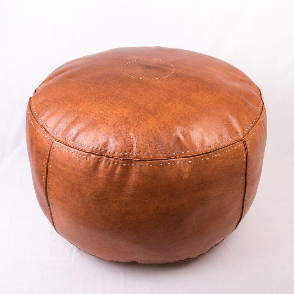 Outstanding Tan Leather Round Ottoman Round Ottoman Ottoman Tan Leather Inzonedesignstudio Interior Chair Design Inzonedesignstudiocom