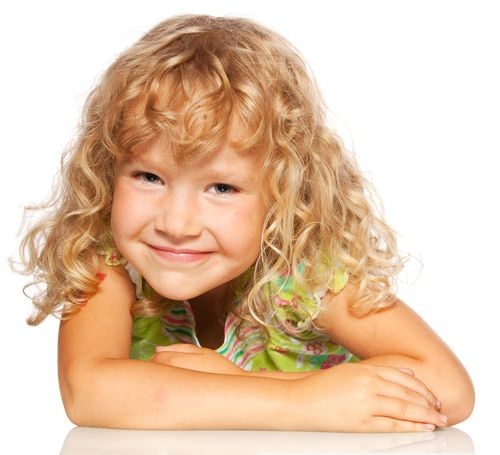 Little Girl With Long Blonde Curly Hair