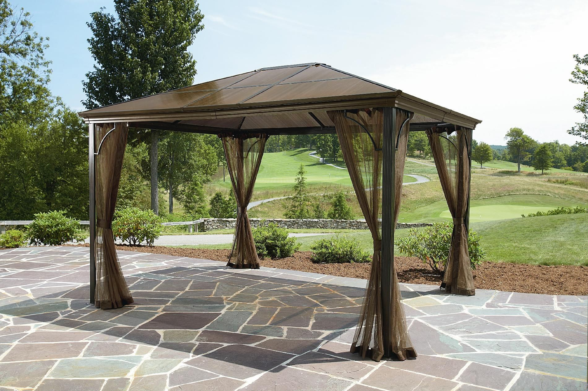 Grand Resort 10x12 Hardtop Gazebo Outdoor Living Gazebos Canopies Pergolas Gazebos Hardtop Gazebo Gazebo Outdoor Heaters