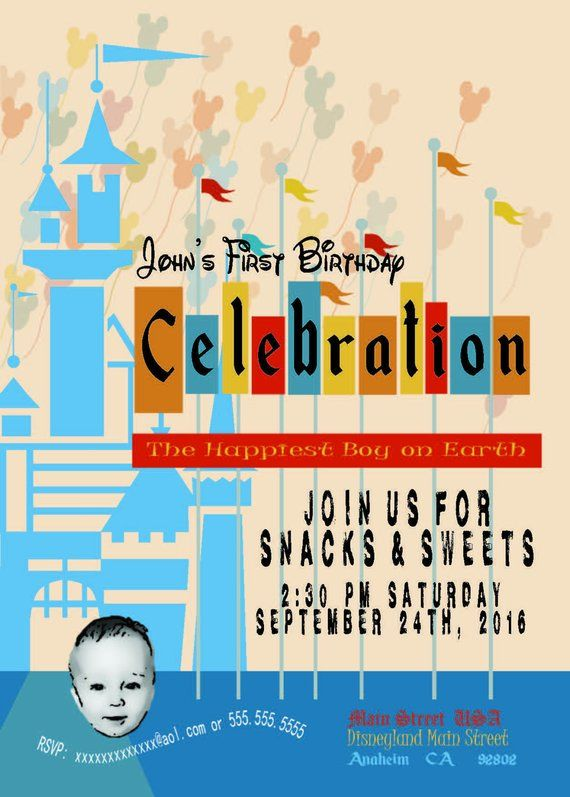 Disney Theme Vintage Poster Birthday Invitation