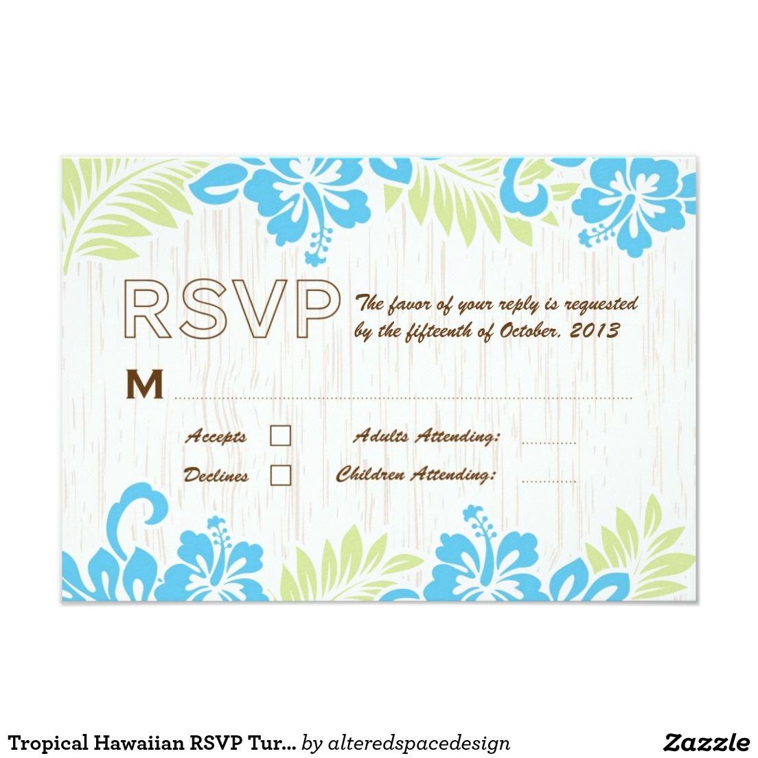 Tropical Hawaiian RSVP Turquoise Card | Beach wedding invitations ...
