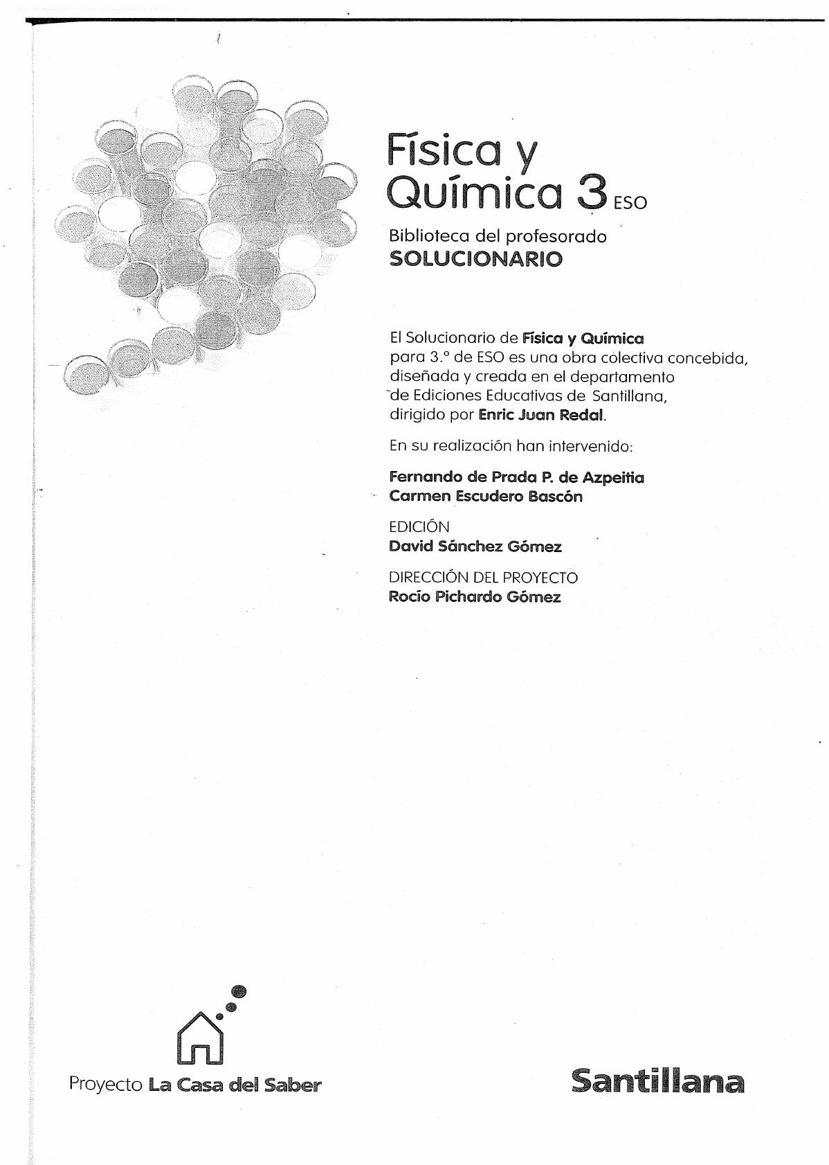 Solucionario Fisica Y Quimica 3º Eso Santillana Documents Química Física Proyectos De Física