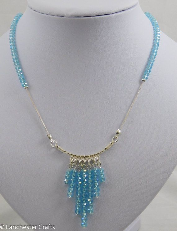 Pale Aquamarine Swarovski Crystal Beaded Waterfall Pendant Necklace, Handmade, Tiered Pendant