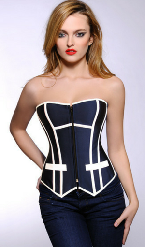 6e9837e1fa9 Navy with white trim  Sexy Boss Lady  Bustier. Lace up back so you can  customize your fit for that perfect hour glass figure. Available in sizes S  - XXL.