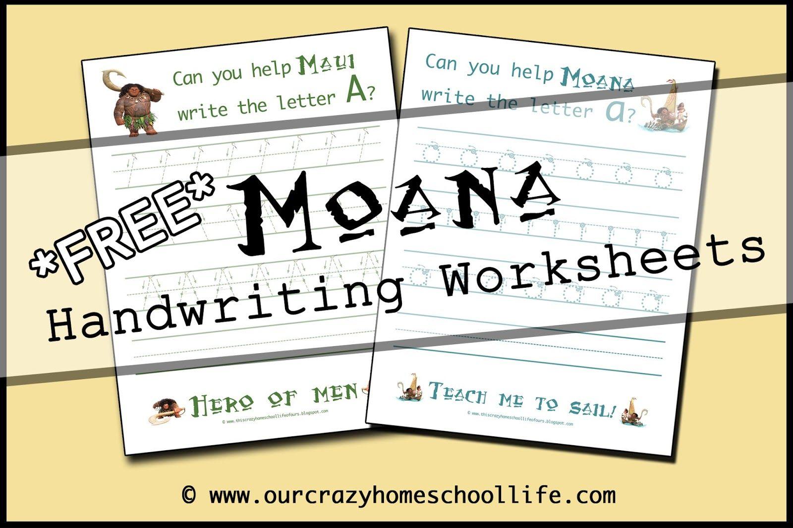Free Moana Handwriting Worksheets