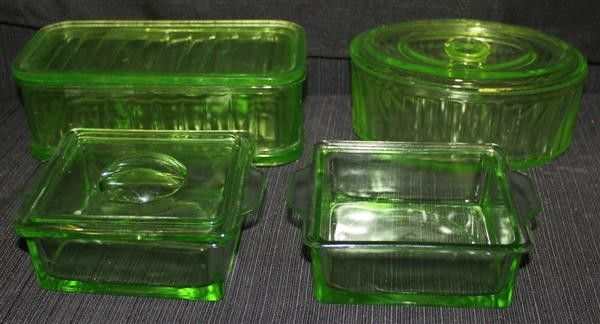 Antique glass, enamel, granite ware, depression glass, or jadeite refrigerator dishes.