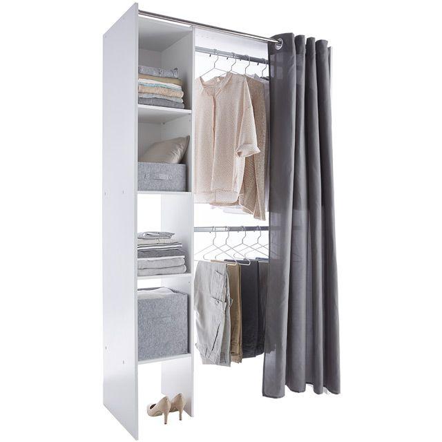 dressing tout en un blanc avec rideau castorama