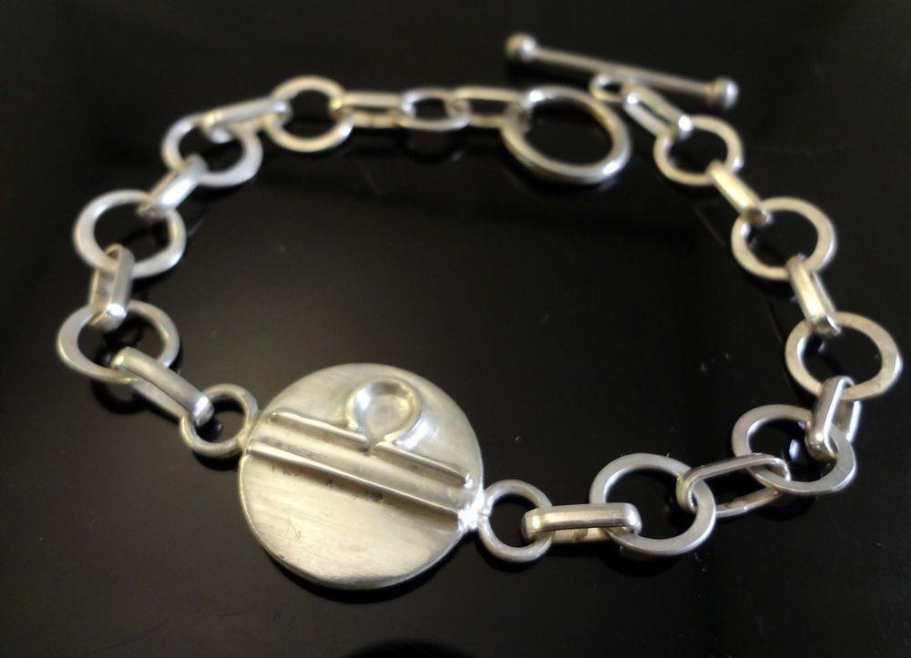 Libra Zodiac ID Bracelet,  Handmade, Solid .925 Sterling Silver, SZ- 7.25   #Handmade #ZodiacIDLibra