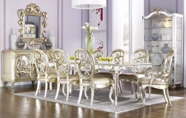 Jessica Mcclintock Couture Antique Mirror Leg Table Dining Room Set Silver Leaf Finish