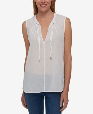 TOMMY HILFIGER Tommy Hilfiger Tie-Neck Top, Only At Macy'S. #tommyhilfiger #cloth # tops