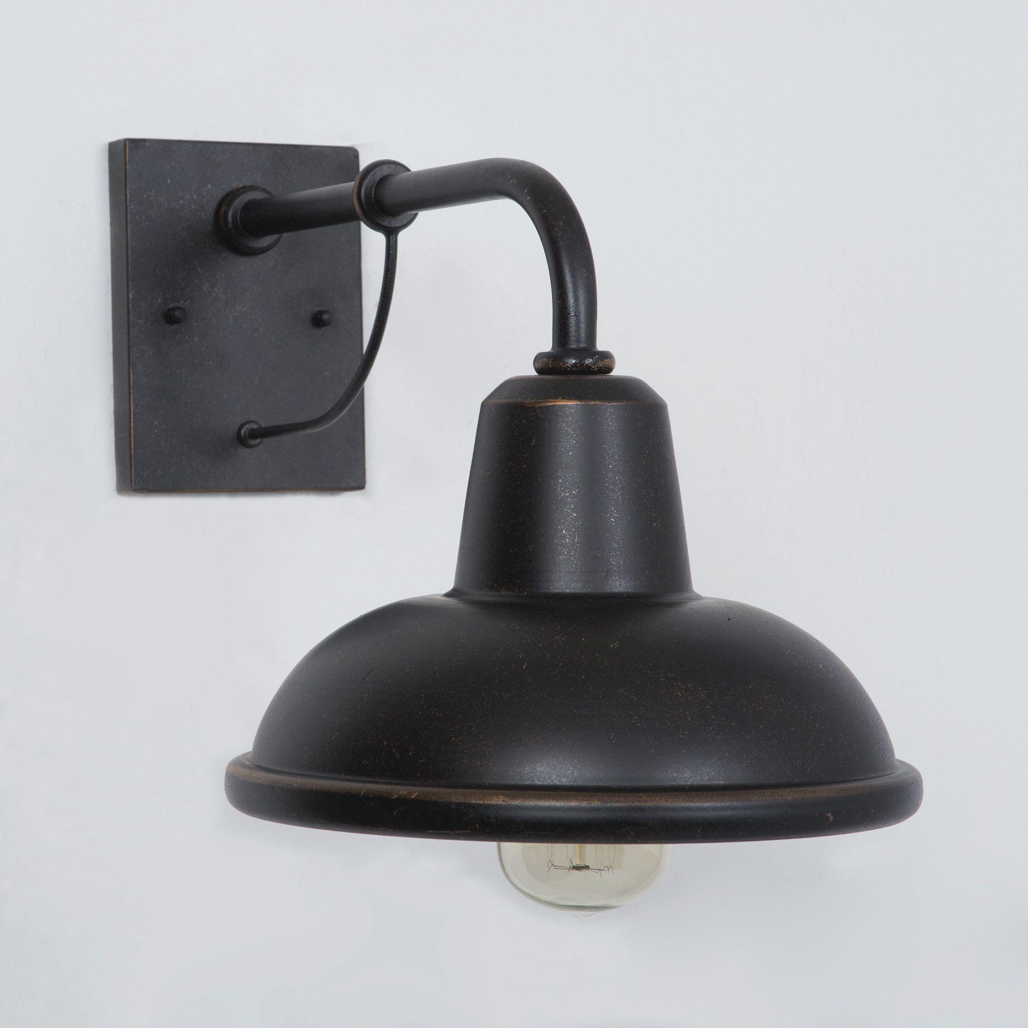Chloe loft industrial 2 light oil rubbed bronze wall sconce free - Escudilla 1 Light Outdoor Barn Light