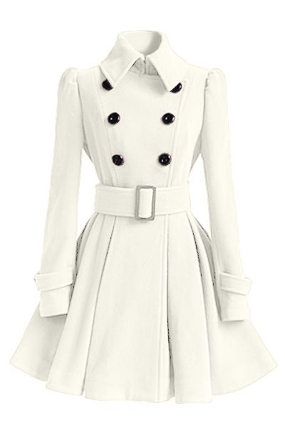 Fashion Turndown Collar Long Sleeves Double-breasted Asymmetrical White Cotton Blend Sheath Trench Coat(with Buckle Belt)