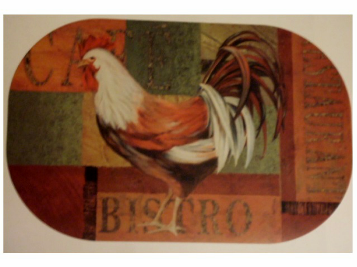 rooster cafe bistro placemats set set of 4 oval placemats decorate your rooster themed kitchen with this set of 4 placemats that feature a rooster in the center the word cafe is printed at the top and the w