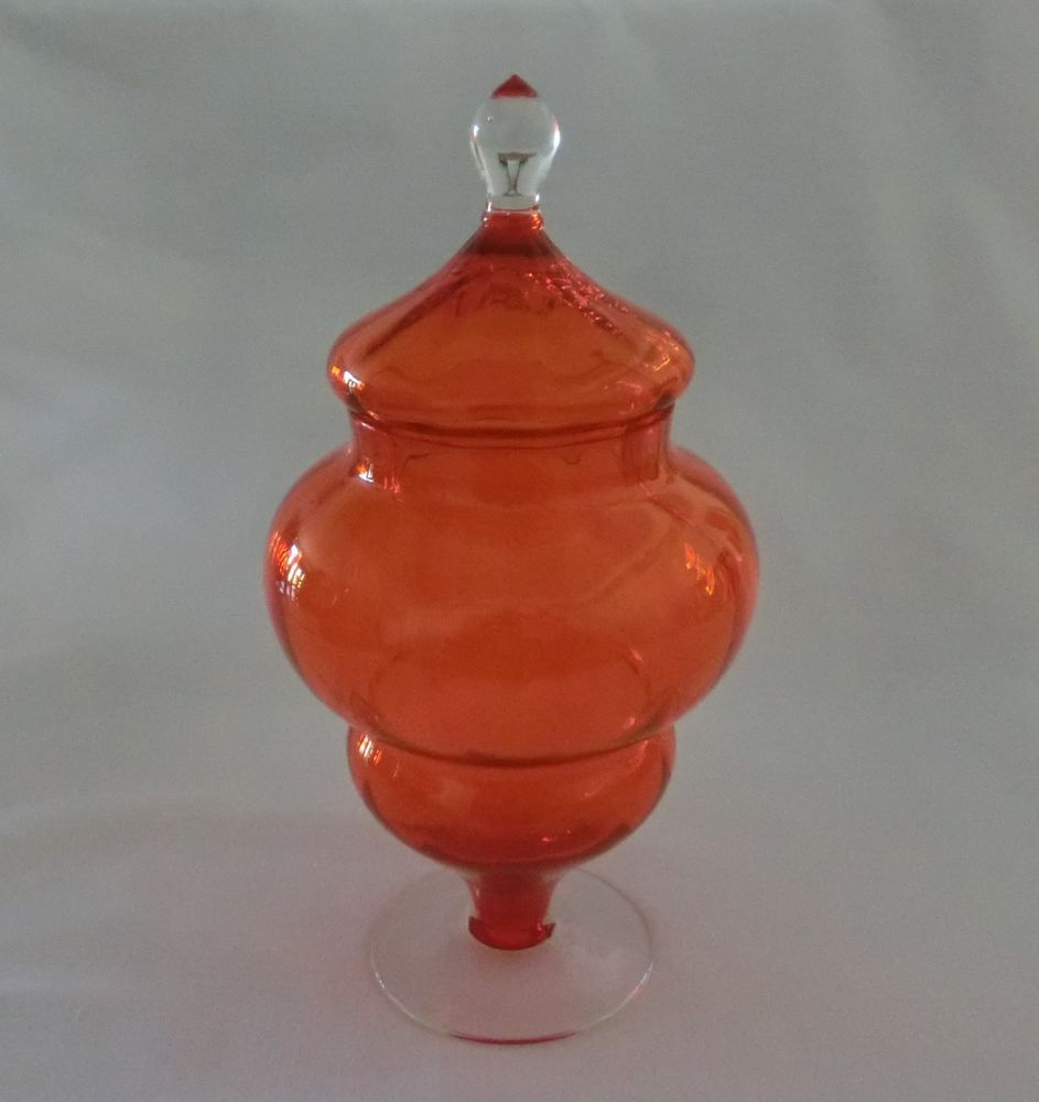 Vintage Retro Art Glass Lolly Apothecary Jar Circus Tent Lid - Orange & Retro Art Glass Lolly Apothecary Jar Circus Tent Lid - Orange