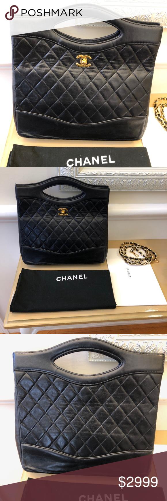 fe6193c8507a Chanel 31 Small Black calfskin Shopping Bag Chanel 31 Small Shopping bag  black Calfskin gold tone