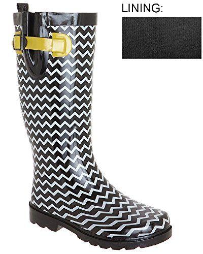 Capelli New York Womens Zig Zag Rain Boot Black Combo 8 Capelli New York  http