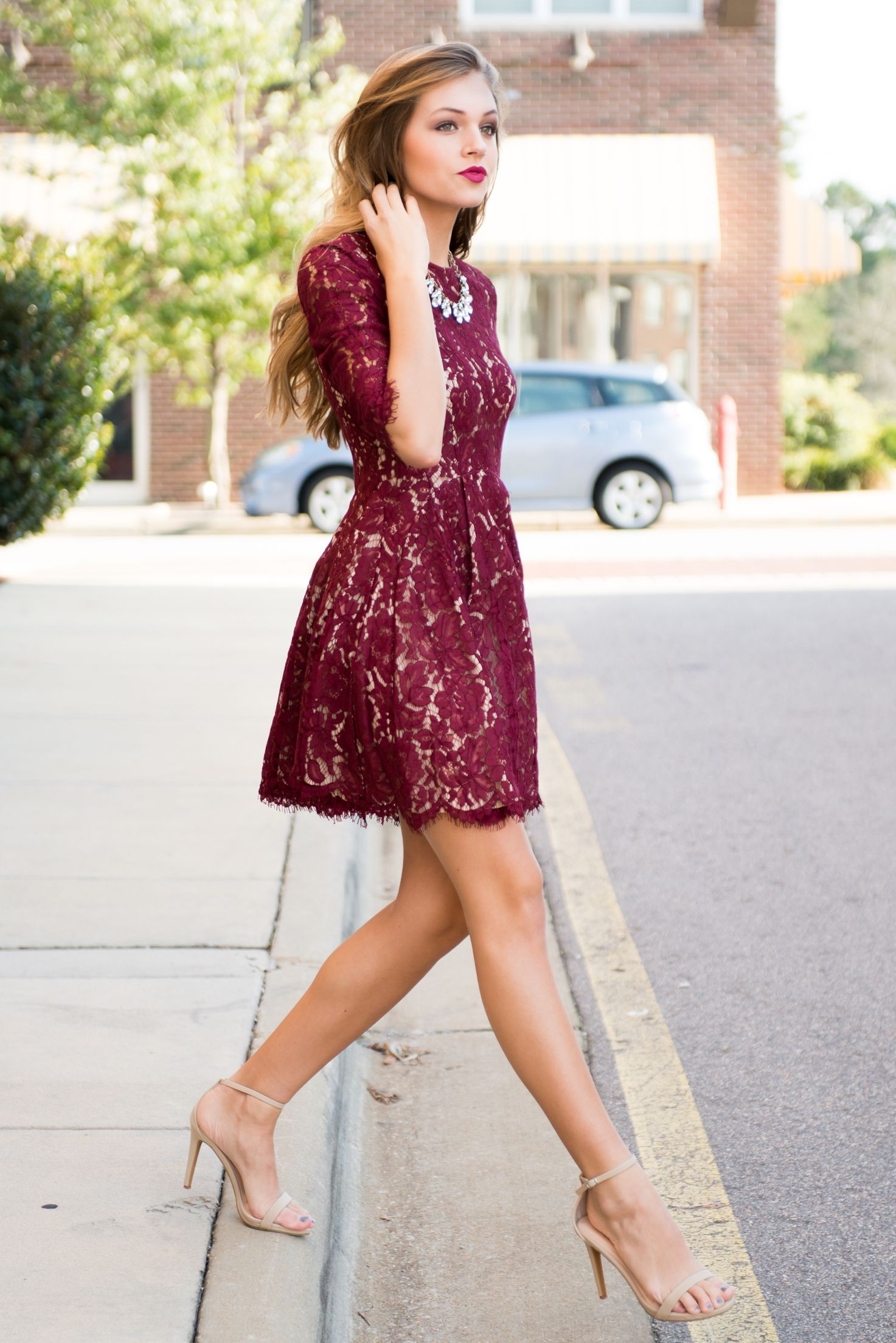 Maroon and white lace dress