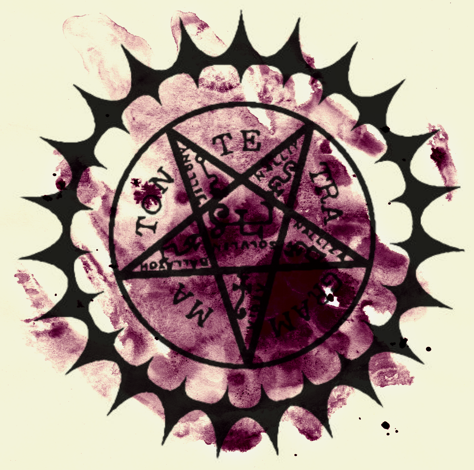 Black Butler Contract Symbol Over Purple Water Color Aesthetic