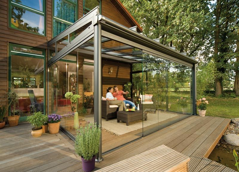 Sleek Glass Covered Patio Idea Outdoor Patio Designs Backyard Patio Patio Room