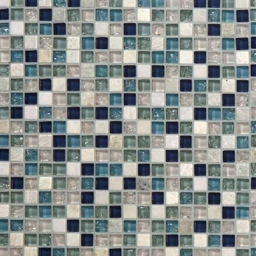 Montage Blue 5 8 Inch Square Glass And Stone Mosaic Tile 12 X 12 3 8 Inch 10 Mm Thick Floor Decor In 2020 Mosaic Glass Stone Mosaic Mosaic