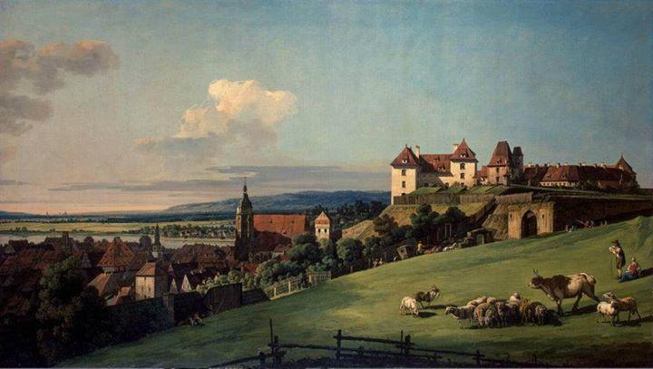Bernardo Bellotto, il Canaletto - View of Pirna from the Sonnenstein Castle 1750 Hermitage Museum