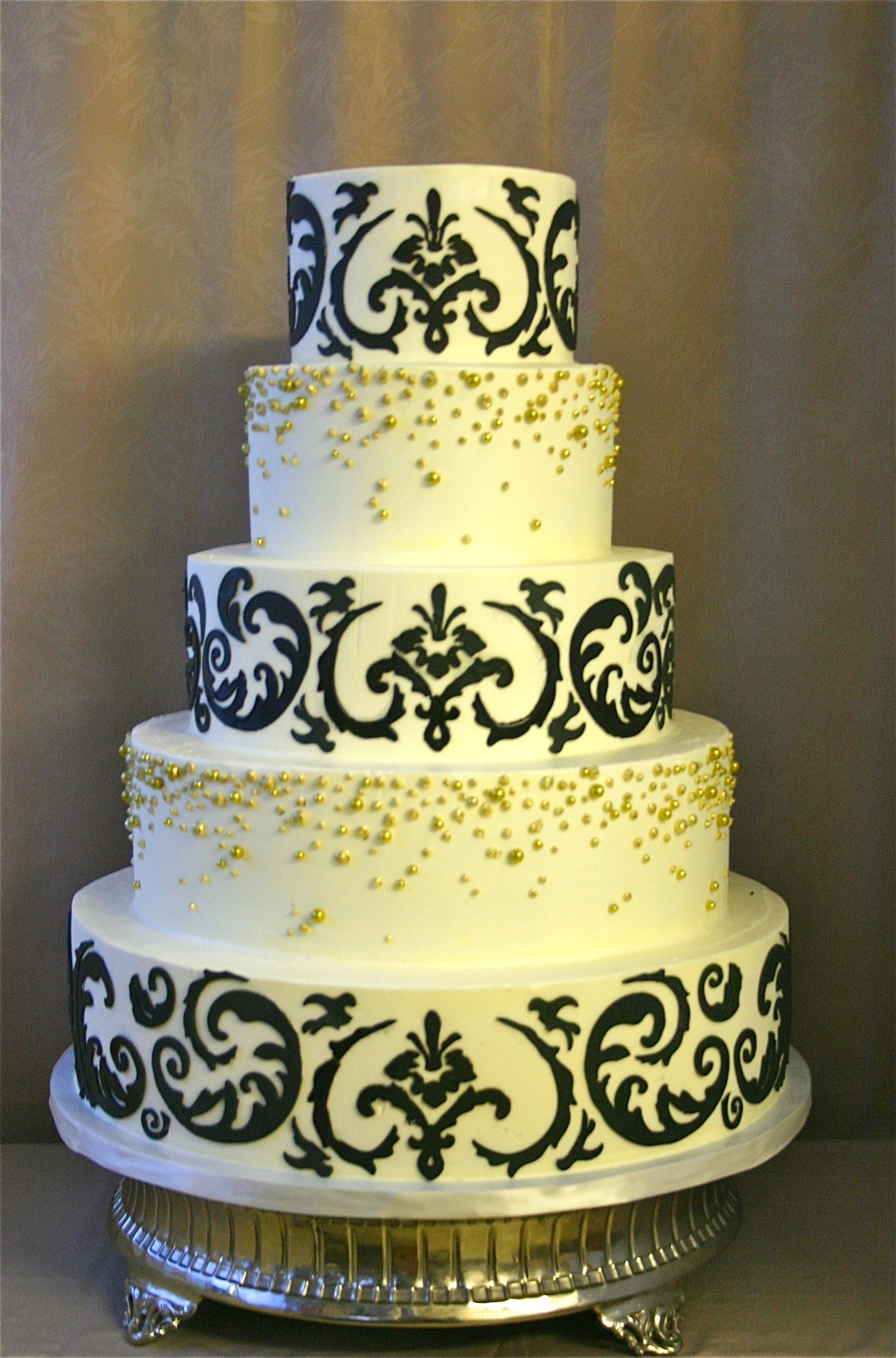 black damask wedding cake with a touch of gold- Cakes to Remember ...