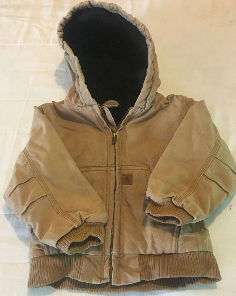 69f245444631 Toddler Boys Clean 4T Brown Carhartt Hooded Insulated Duck Coat ...