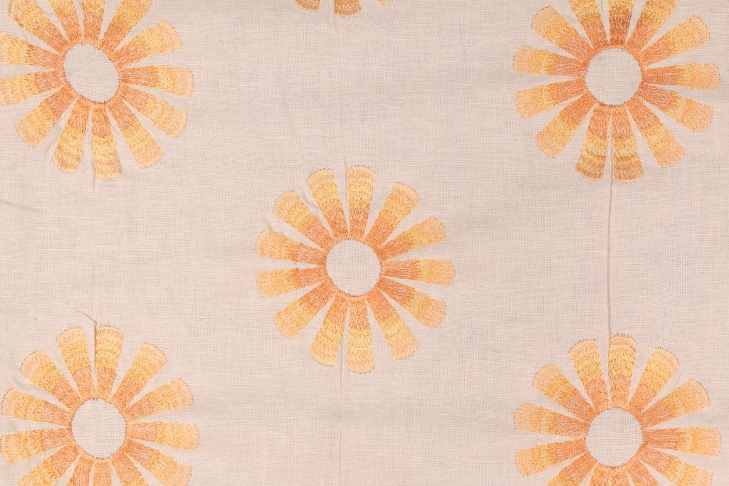 Richloom Parade Embroidered Linen Blend Drapery Fabric In Apricot Fiber Content 59 Rayon 41 Linen Wid With