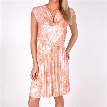 Ruby Rd. Shell Game Pleated Drawstring Dress #VonMaur #RubyRd #Printed #Salmon #DrapeNeck