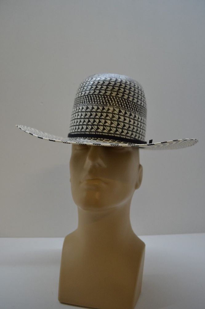 1f29bd31 American Hat Company Black White Straw Cowboy Hat 4 1/4 inch Brim CHL Crown  NWT #AmericanHat #CowboyWestern